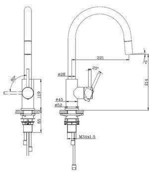 Смеситель для кухни съемный из нержавеющей стали модель Moana 50930 Shoni SHONY