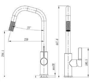 Съемный смеситель для кухни модель Nina Chrome 59151 Shoni SHONY