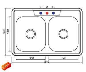 Мойка кухонная двойная из нержавеющей стали, модель Таршиш ЕТ04, ШОНИ