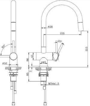 Смеситель для кухни съемный, модель ANNA 51030 Shoni SHONY
