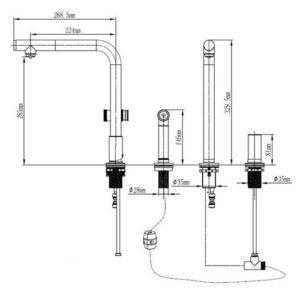 Съемный смеситель для кухни из нержавеющей стали 3 режима Модель Stanley STANLEY 51259 Shoni SHONY