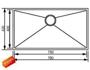 Модель кухонной мойки из нержавеющей стали Amethyst SQ06F Shoni SHONY