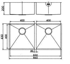 Модель двойной кухонной мойки из нержавеющей стали, в которой SQ09F отличается SHONY