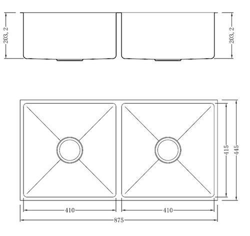 Двойная кухонная мойка из нержавеющей стали модель Okada GS-8744F разная SHONY