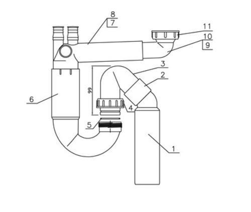 Трубопровод Prabx экономит место для кухонной мойки + палубы - 13758 Shoni SHONY
