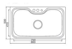 Большая кухонная мойка из нержавеющей стали, модель Peridot 1016 Shoni SHONY