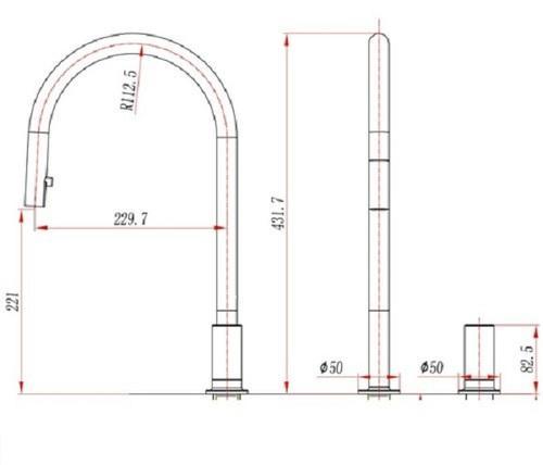 Съемная ручка смесителя для кухни с поверхности модель Vera черный матовый 53962 другой SHONY