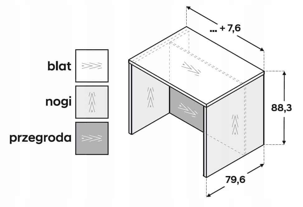 Кухонный остров 110 см ZW8LP110 P2 Столешница, форма 3,6