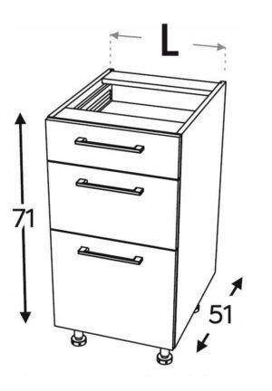 Базовый шкаф, 3 ящика 50 см KAMMONO F4F5F7