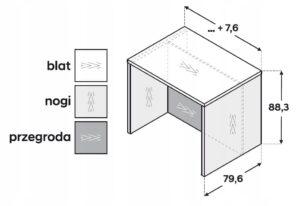 Кухонный островок 80 см ZW6L8P P2 со столешницей R3