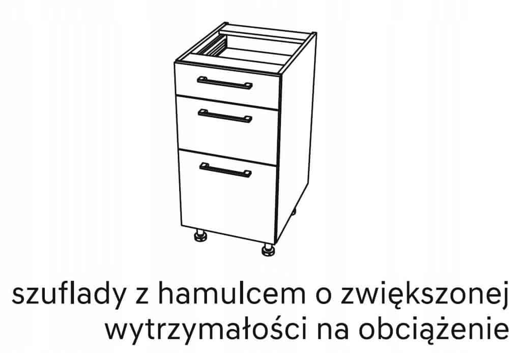 Нижний кухонный шкаф, 3 ящика, 90 см KAMMONO P4
