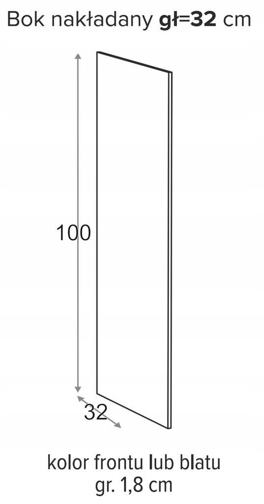 ВЫСОТА БОКОВОГО НАКЛАДКИ 100 x 32 см ОЛИВИЯ СОФТ