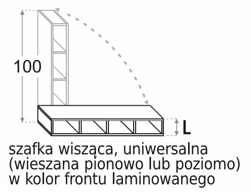 НАСТЕННЫЙ ШКАФ 15 CM UNIVERSAL 100 CM KAMDUO XL