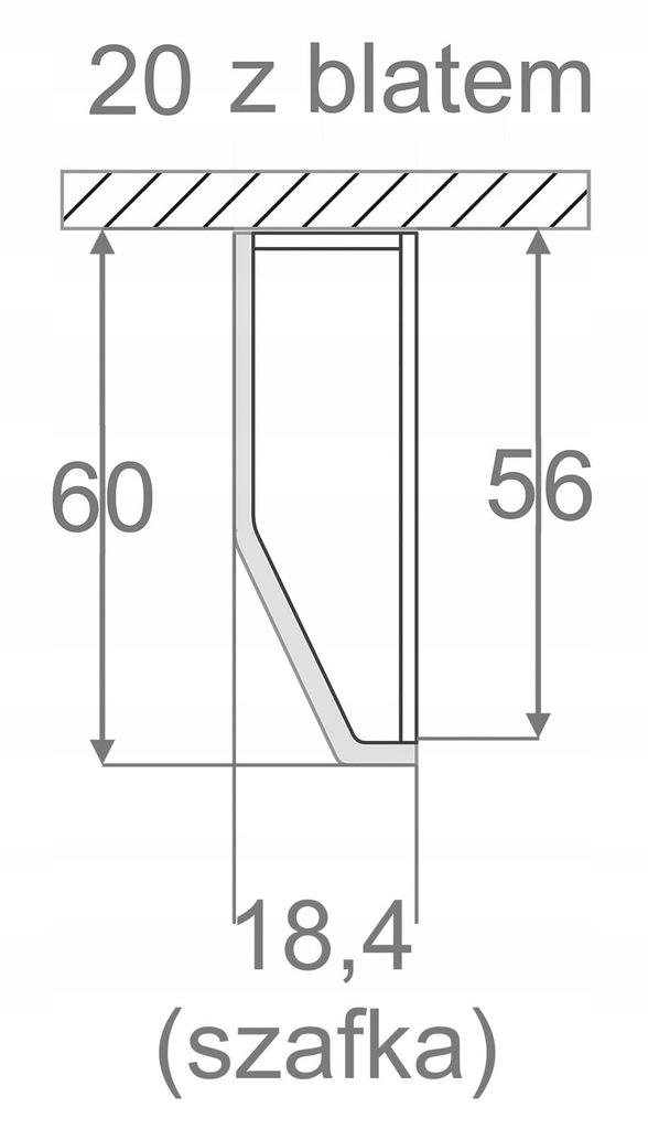 Нижний шкаф 20 см, окончание КД без столешницы