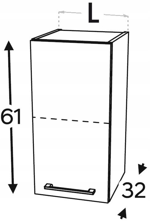 Шкаф навесной с 1 дверцей, 30 см KAMMONO P2, K2