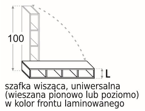 НАСТЕННЫЙ ШКАФ 25 СМ УНИВЕРСАЛЬНЫЙ 100 СМ KAMDUO XL