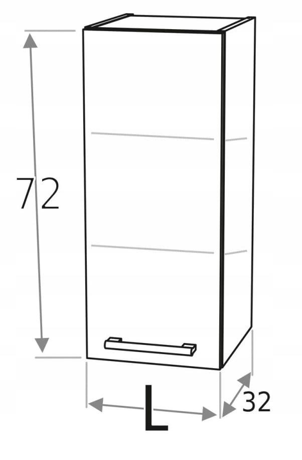 Шкаф верхний 30 см, подвесной, 1 дверца KD