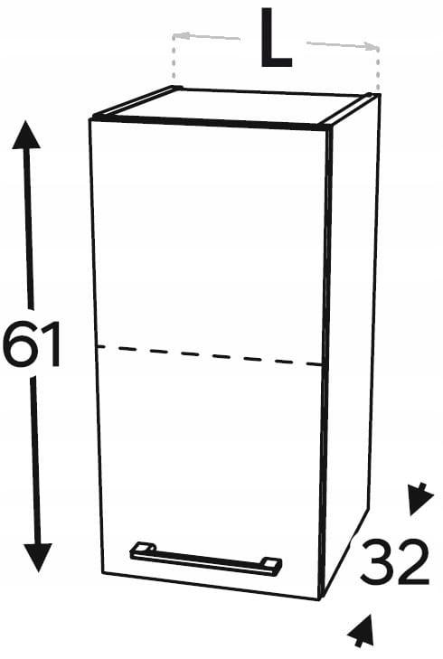 Шкаф навесной с 1 дверцей, 45 см KAMMONO P2, K2