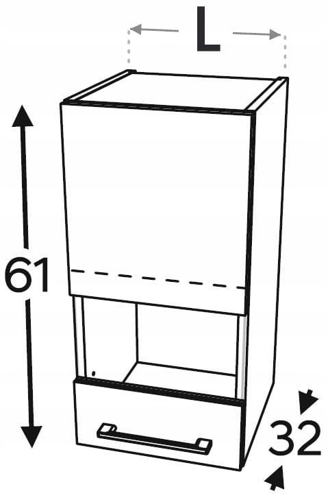 Шкаф со стеклянной витриной 1 дверца, 40 см KAMMONO P2, K2