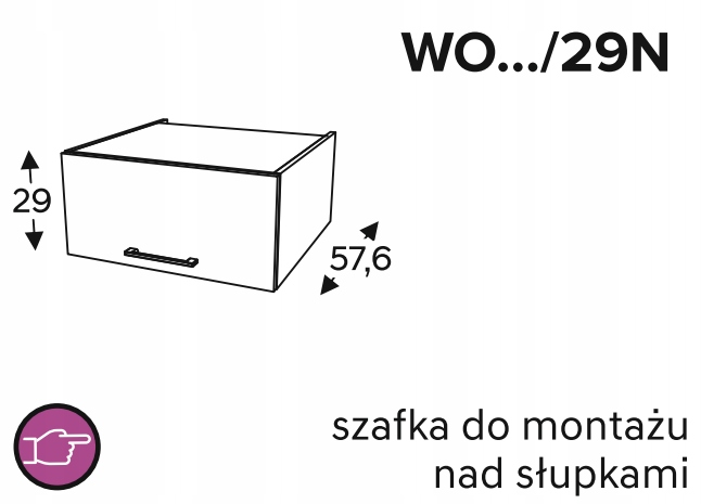 Шкафы навесные над стойками, 50 см KAMMONO P4