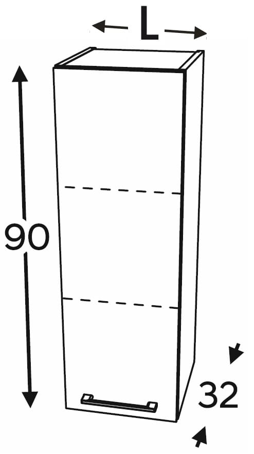 Шкаф высокий с 1 дверцей 20 см KAMMONO F4F5F7