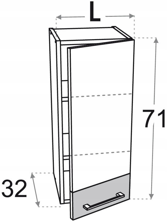 Верхний шкаф 40 см с 1 дверцей Kamduo ML