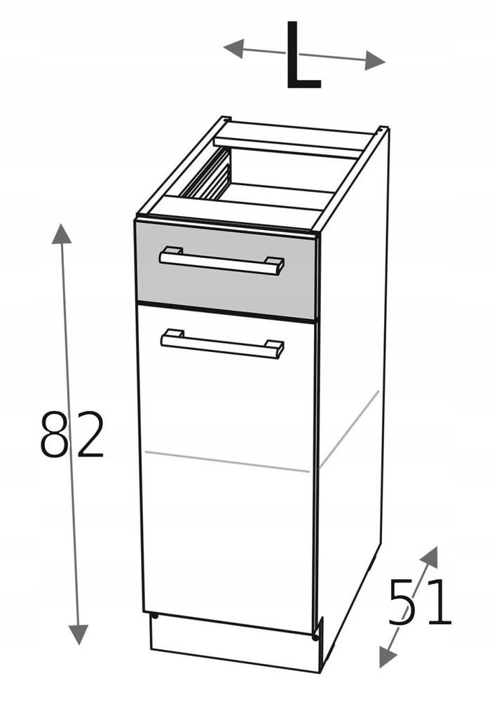 Нижний шкаф 30 см с дверцей и ящиком КД