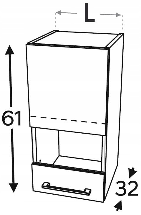 Шкаф со витриной 1 дверца, 60 см KAMMONO P2, K2