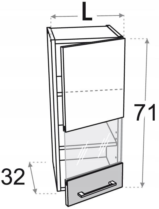Шкаф верхний 40 см с 1 дверцей, витрина Kamduo ML