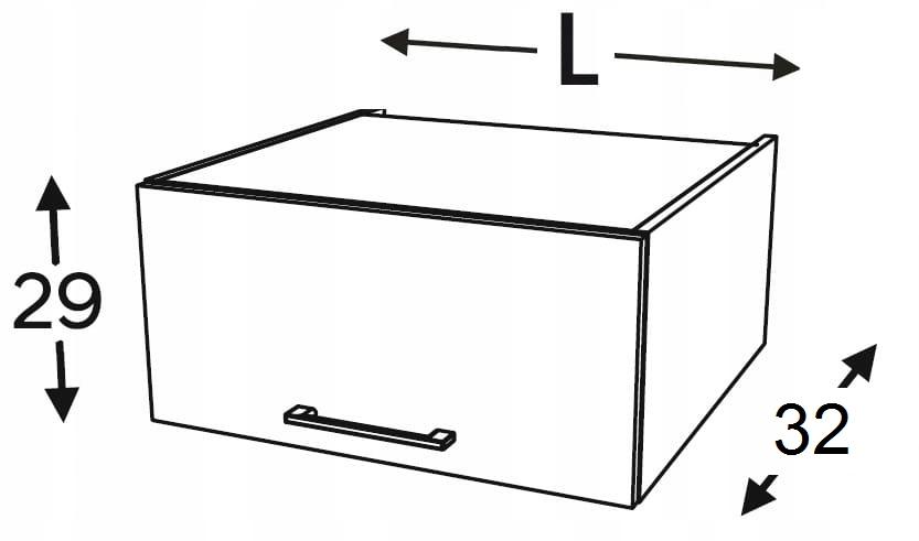 Шкаф верхний подвесной низкий 90 см KAMMONO F4F5F7