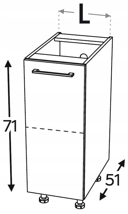 Нижний кухонный шкаф 1 дверца 45 см KAMMONO P4
