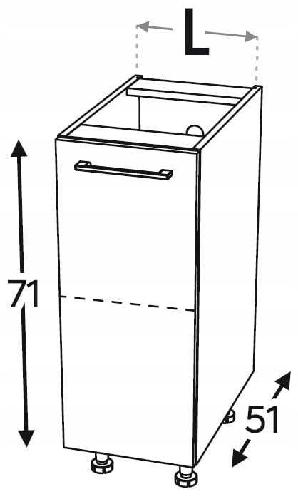 Нижний кухонный шкаф 1 дверца 45 см KAMMONO F4F5F7