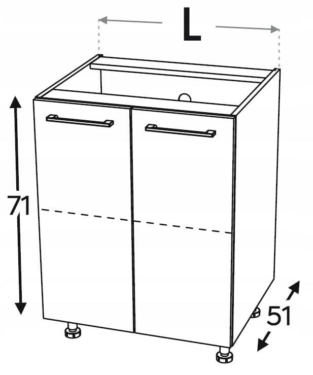Нижний кухонный шкаф, 2 дверцы 60 см KAMMONO P2, K2