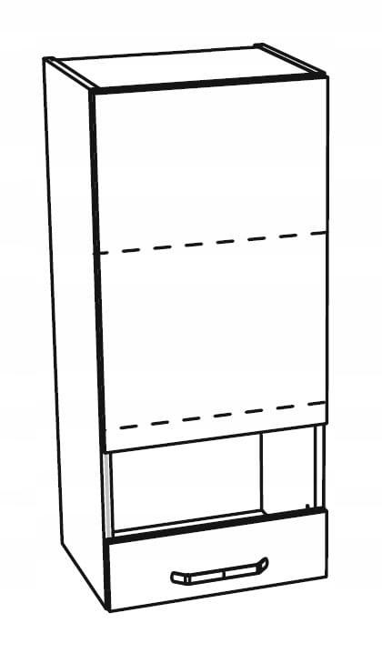 Шкаф высокий со стеклянной витриной 1 дверца 40 см KAMMONO P4