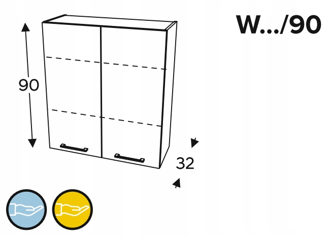 Шкаф навесной 2-дверный, 60 см KAMMONO P2, K2