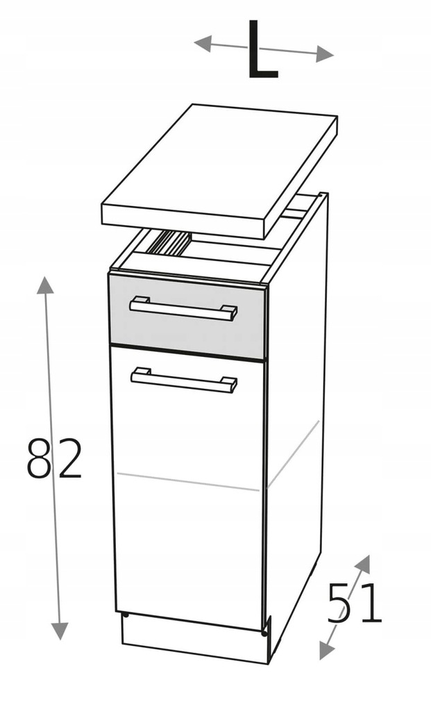 Нижняя тумба 40см с дверцей и ящиком КД + столешница