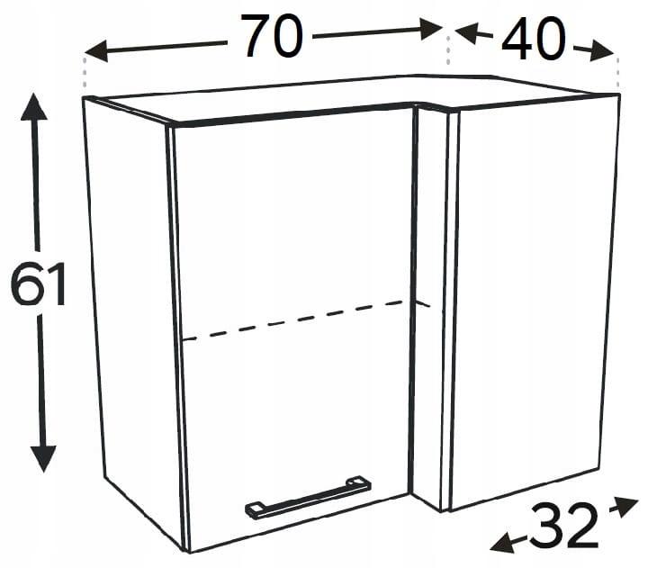 Шкаф угловой подвесной 70/40 см KAMMONO F4F5F7
