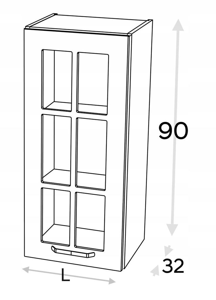 Высокий шкаф со стеклянной витриной 40 см KAMMONO F4F5F7