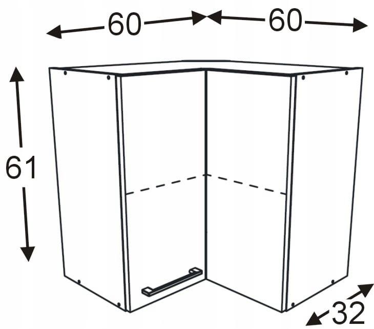 Шкаф подвесной угловой 60x60 см KAMMONO F4F5F7