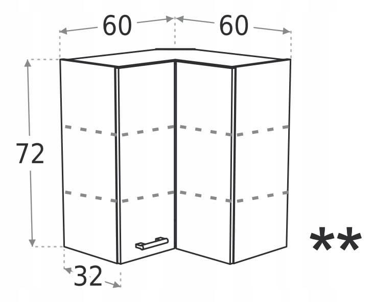 Шкаф подвесной верхний угловой с 2 дверцами 60 x 60 см KD