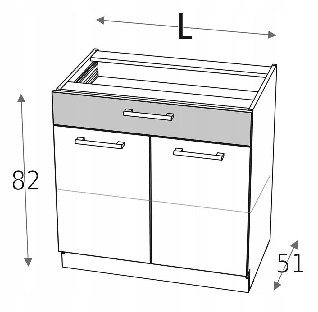 Базовый шкаф 80 см с 2 дверцами и ящиком KD
