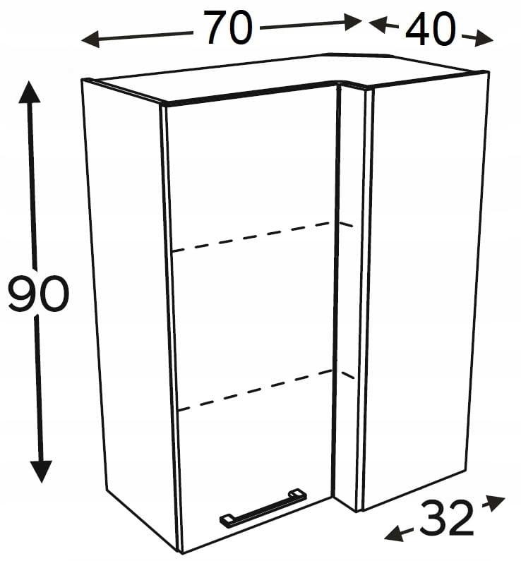Шкаф высокий угловой 70/40 см KAMMONO P2, K2