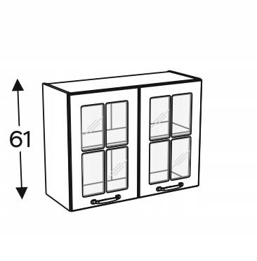 Шкаф с 2-дверной витриной 80 см KAMMONO F4F5F7