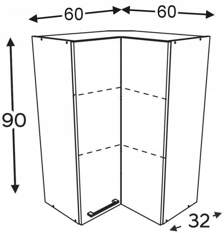 Шкаф высокий угловой 60/60 см KAMMONO P2, K2