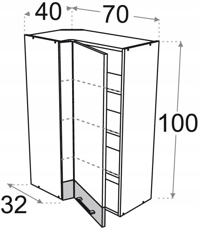 Шкаф подвесной угловой высокий 70 x 40 см Kamduo ML