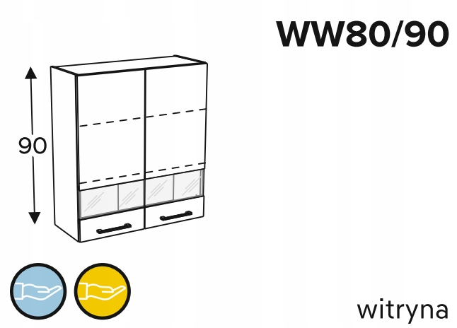 Шкаф с 2-дверным дисплеем, 80 см KAMMONO P2, K2
