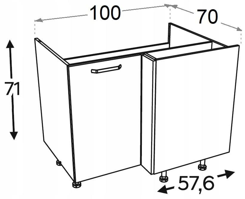 Угловой шкаф 100/70 см KAMMONO P2, K2