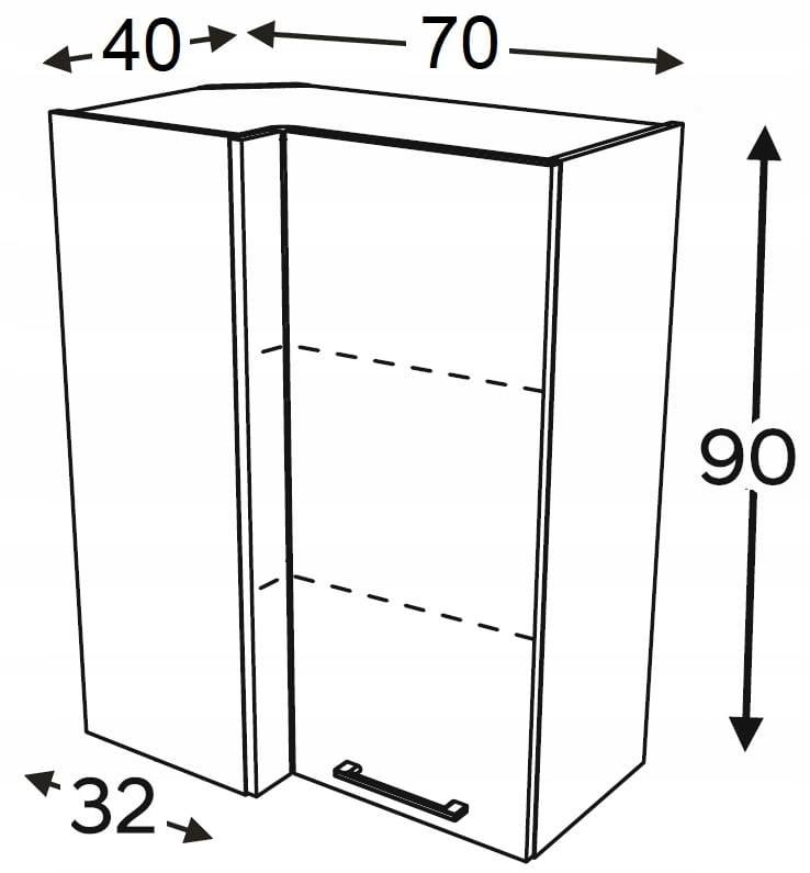 Шкаф высокий угловой 70/40 см KAMMONO F4F5F7