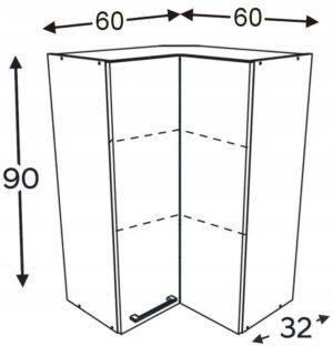 Шкаф высокий угловой 60/60 см KAMMONO F4F5F7