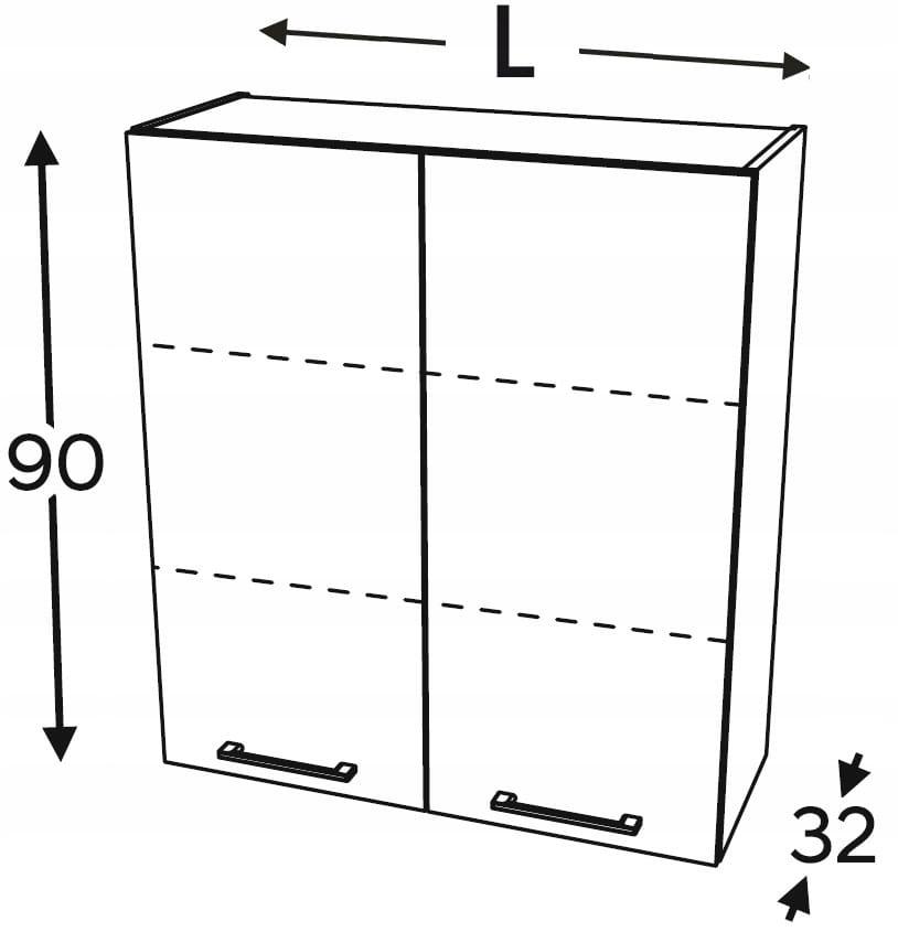 Шкаф подвесной 2-дверный 80 см KAMMONO F4F5F7